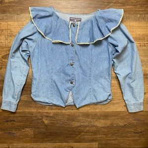 Vintage Denim Top Blouse Large